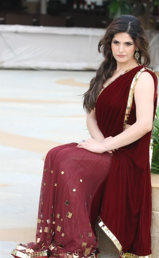 Zarine Khan in hot red saree