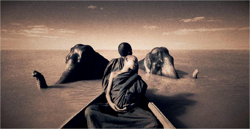 Ashes & Snow photos by Gregory Colbert, monk in boat and elephant