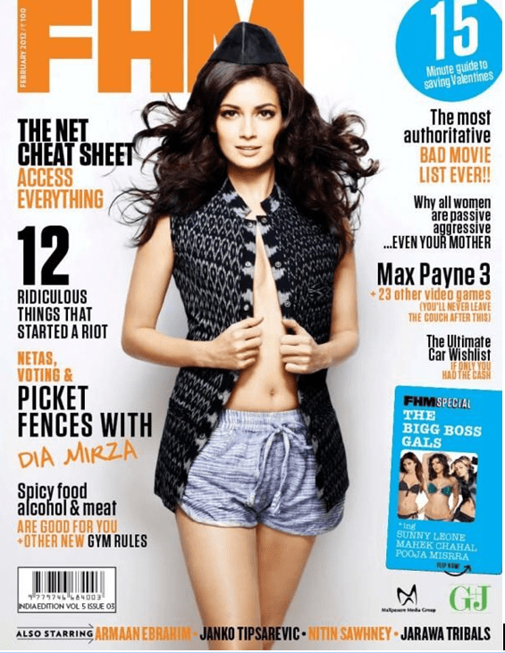 Dia Mirza hot thighs, Dia Mirza sexy legs, Dia Mirza on cover page