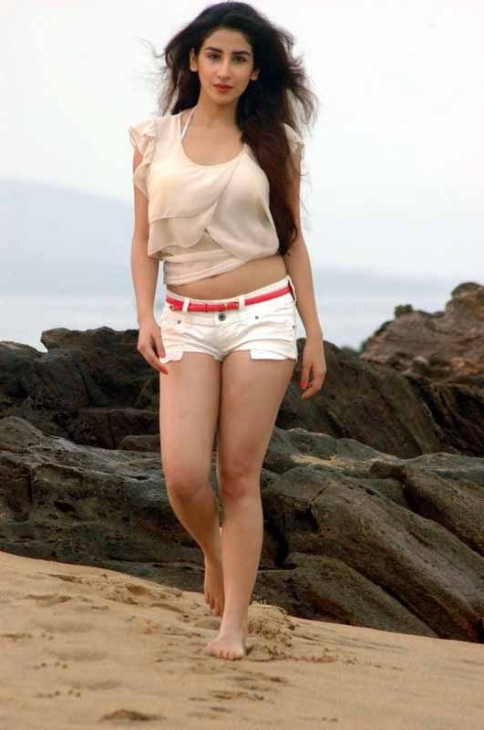 Parul Gulati Sexy Photos in White Hot Pants at Beach_VP (7)