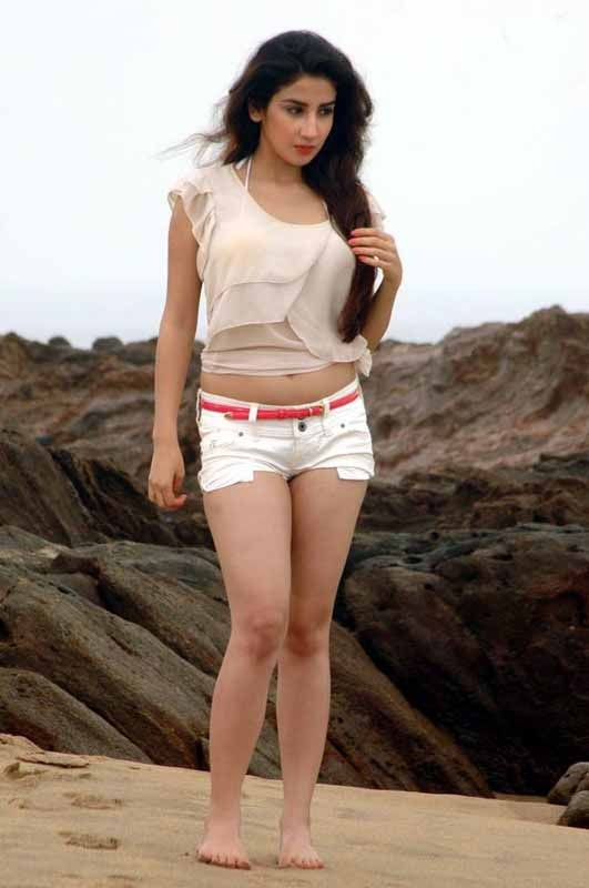 Parul Gulati Sexy Photos in White Hot Pants at Beach_VP (8)