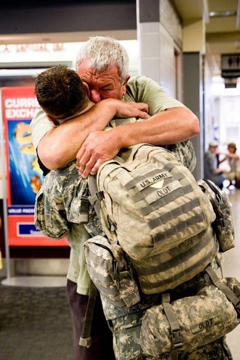 A reunion between a soldier and his father.