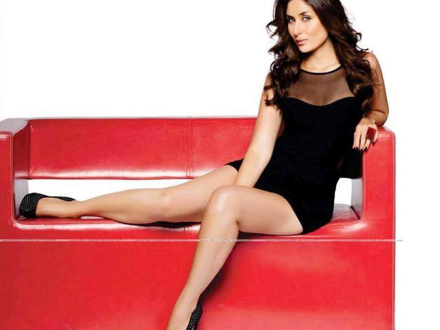 Kareena Kapoor on couch in black dress photos