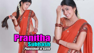 Pranitha Subhash Cute Stills in Saree