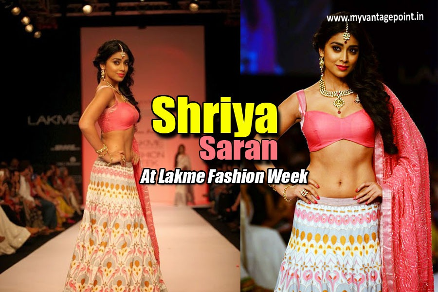 Shriya Saran At Lakme Fashion Week. Shriya Saran hot ramp walk, Shriya Saran sexy navel in lenhga, Shriya Saran masala pics