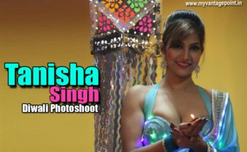 Tanisha Singh hot photoshoot for diwali in blue saree