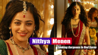 Nithya Menen Looking Gorgeous In Red Saree