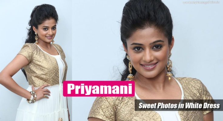 Priyamani : Cute & Sweet Photos of South Indian Beauty in White Dress
