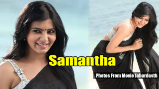 Samantha Hot Navel Show In Black Saree Photos from Movie Jabardasth