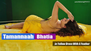 Tamannaah Bhatia in Yellow Dress With A Feather in Seductive Photoshoot