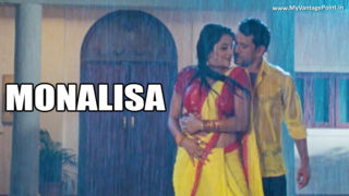 Monalisa AKA Antara Biswas Spicy Screen Caps Romancing With Nirahua In Saree in Rain