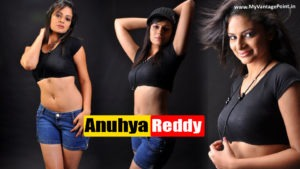 Anuhya Reddy Hot Navel Show in Sexy Blue Short Pant