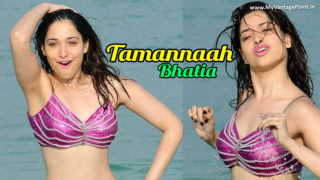 Tamannaah Bhatia Gone Wild Wet Showing HOT Navel Show At Beach in Black Mini Skirt