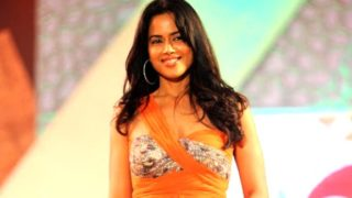 Sameera Reddy Walk Ramp in A Sexy Orange Dress