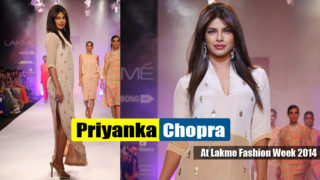 Priyanka Chopra Ramp Walk Stills at Lakme Fashion Week 2014 in Stunning White Slit Gown