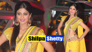 Shilpa Shetty Looking Delicious in Sexy Yellow Saree on the Set of Nach Baliye