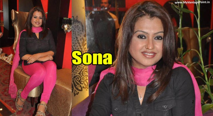 South Indian Hottie SONA looking tempting in Black Kurta & Pink Salwar at an event