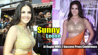 Sunny Leone at Ragini MMS 2 Success Press Conference in Orange Saree
