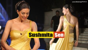 Sushmita Sen Looks Stunning In Golden Gown in Smile Foundation Charity Fashion Show