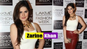 Read more about the article Zareen Khan in sexy Red Leather Skirt and White Top at Lakme Fashion Week Winter-Festive 2013