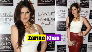 Zarine Khan in sexy Red Leather Skirt and White Top at Lakme Fashion Week Winter-Festive 2013