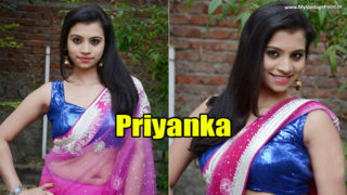 South Indian Hot Priyanka Sexy Navel Show Photoshoot Stills in Pink Saree