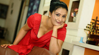 South Indian Actress Apoorva Hot Photos in Red Saree