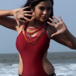 Adonika Rodricks Hot Show at Beach in Red Top & Black Skirt (10)