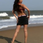 Adonika Rodricks Hot Show at Beach in Red Top & Black Skirt (16)