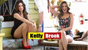 Kelly Brook Sexy Legs Show in a lipstick patterned summer dress films a commercial on location in Miami Beach