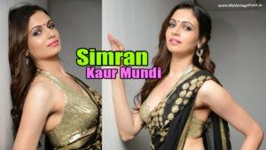 Read more about the article Simran Kaur Mundi Hot & Spicy Pics in Sexy Black Saree & Golden Blouse