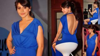 Anushka Sharma Flaunts Her Back In A Sexy Blue Gown For Nivea Event