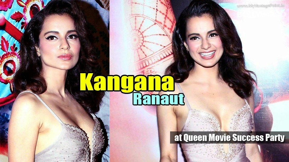 Kangana Ranaut Sexy Stills at Queen Movie Success Party in A Sexy Low Cut Silver Gown