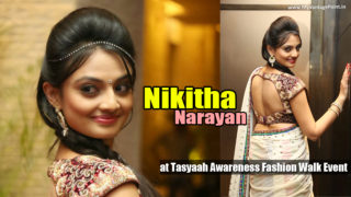Nikitha Narayan Hot Navel Show In White Half Saree at Tasyaah Awareness Fashion Walk Event