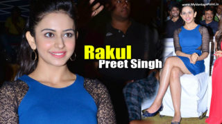 Rakul Preet Singh Sexy Legs Show in A Hot Blue Dress At A Public Function