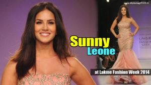 Sunny Leone Ramp Walk Stills at Lakme Fashion Week 2014 in A Sexy Gown