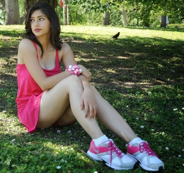 Tanvi Vyas Showing Her Sexy Legs in A Short Pink Mini Dress in Garden_VP (3) - Copy