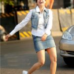 Gurleen Chopra in Jeans Skirt Showing her Beautiful Legs