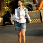 Gurleen Chopra in  Jeans Skirt and Jackets