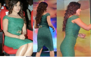 samantha-ruth-prabhu-backshow-in-sexy-tight-dark-green-dress-at-an-event-of-tollywood