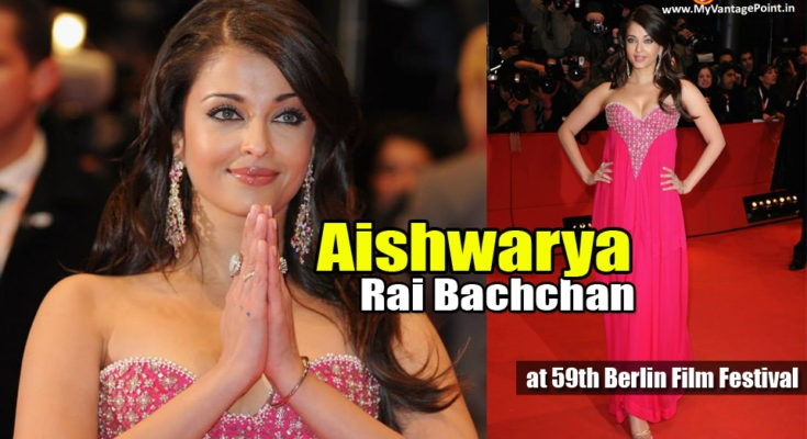 Aishwarya Rai Bachchan at 59th Berlin Film Festival in Pink Gown to promote Pink Panther 2 Movie