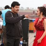 Amy Jackson in Hot Red Dress understanding a scene with Director Shankar for Movie Ai or I (2015)_VP