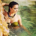 Amy Jackson in Water in Green Bikini for Movie Ai or I (2015)_VP