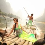 Amy Jackson with Vikram on Boad in Green Dress in Movie Ai or I (2015)_VP