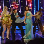 Jacqueline Fernandez at Bigg Boss 8 Set To Promote ROY Movie in Sexy Blue Saree on Kick Song Jumme Ki Raat with Salman Khan