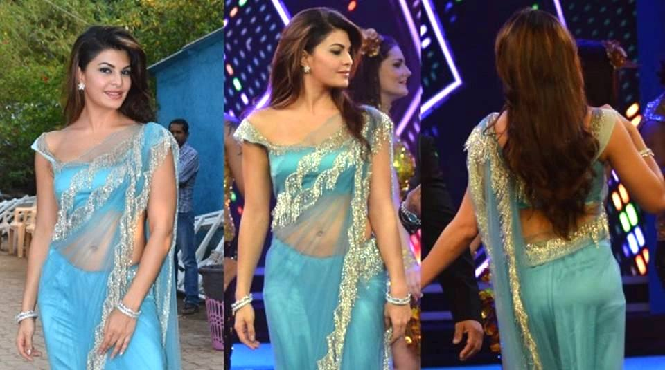 Jacqueline Fernandez at Bigg Boss 8 Set To Promote ROY Movie in Sexy Blue Saree