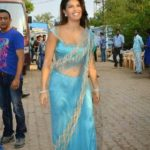 Jacqueline Fernandez at Bigg Boss 8 Set To Promote ROY Movie in Sexy Blue Saree_VP1