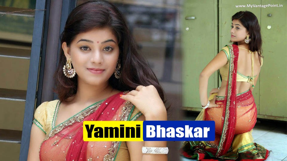 Yamini Bhaskar in Sexy Half Saree at Kakatiyudu Movie Press Meet