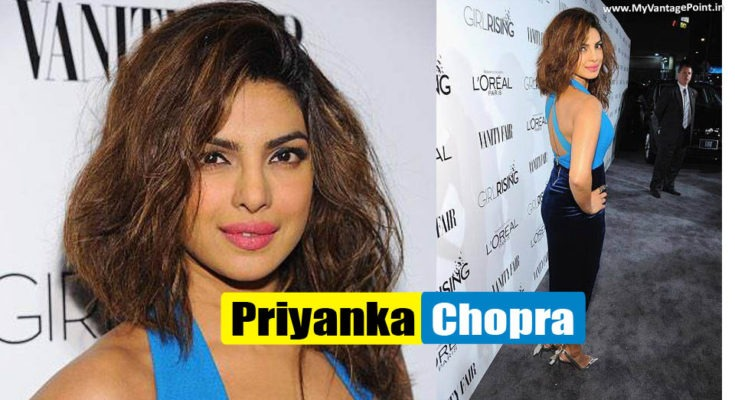 Priyanka Chopra walks the red carpet for Girl Rising event in a dress from Three Floor
