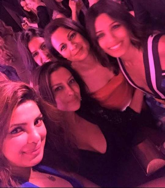 Priyanka Chopra with host Ferida Pinto and other friends at the party